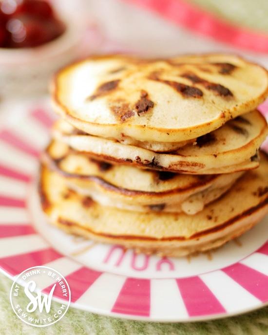 Chocolate Cherry Pancakes stack