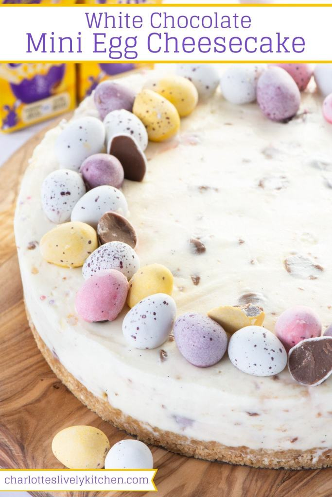 White Chocolate Mini Egg Cheesecake from Charlotte's Lively Kitchen in the 25 Recipes Using Mini Eggs