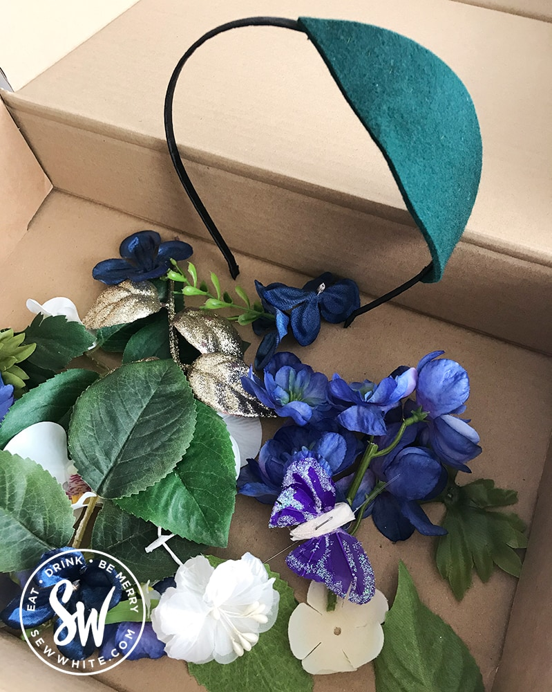 Crafty Christmas making a floral headband kit, leaves in a box