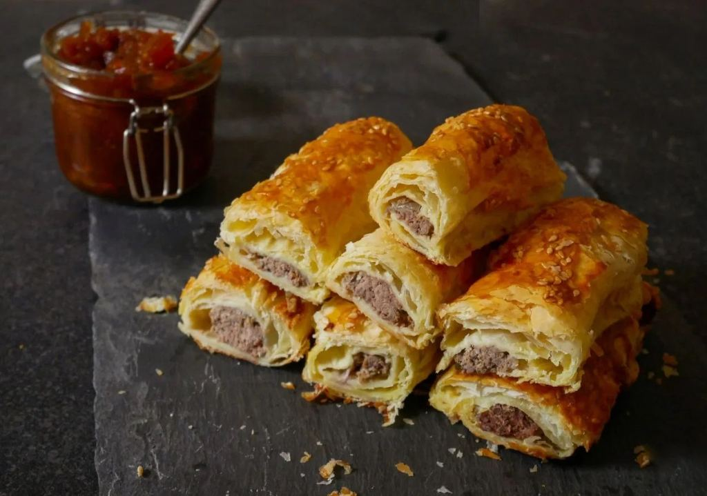 Venison sausage rolls in crisp pastry by The Rare Welsh Bit in the Winter Warming Oven Bakes in Cook Blog Share 2021