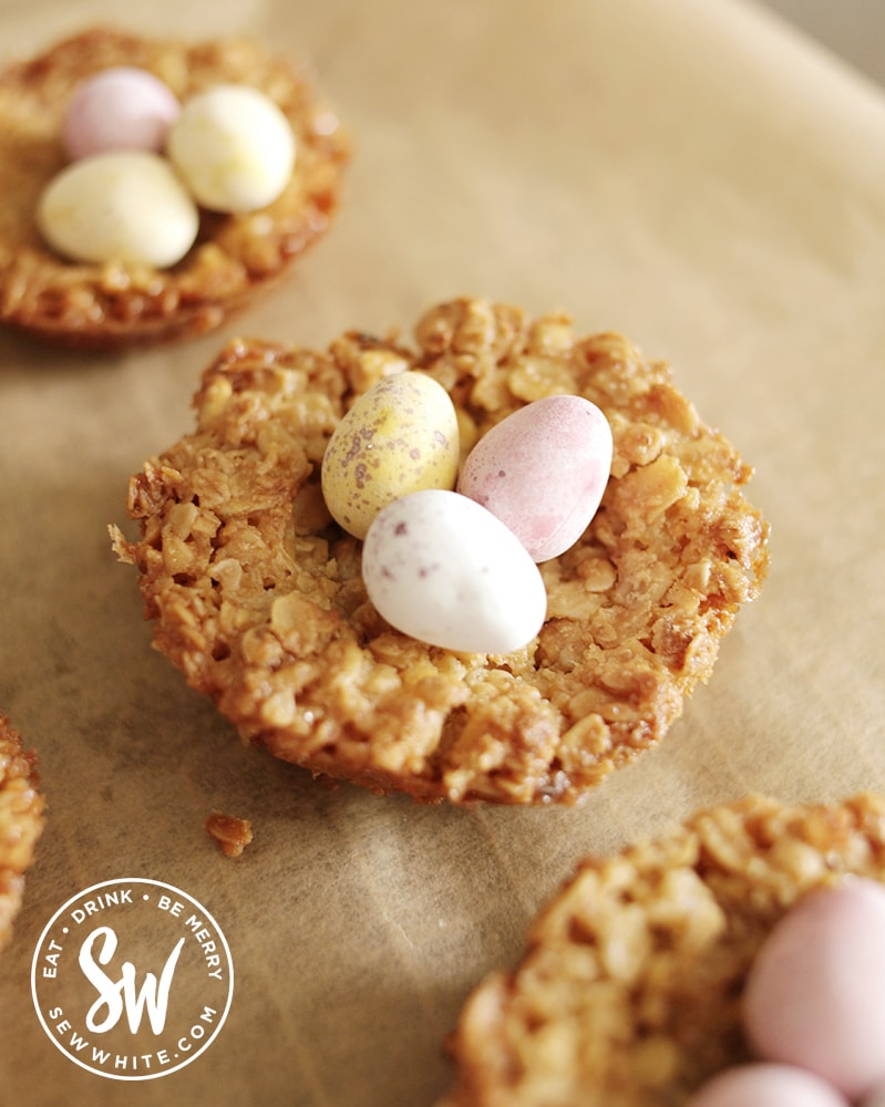 Close up of the easter flapjack nests filled with Easter eggs