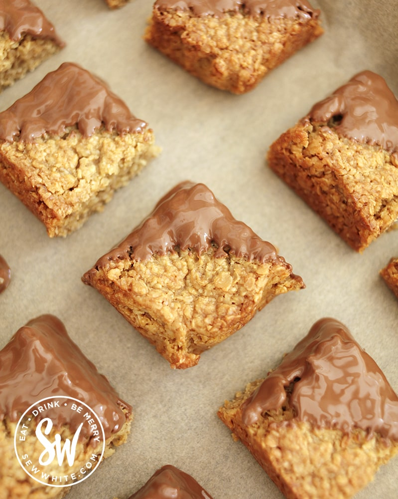 Chocolate Flapjack Recipe pieces with molten chocolate on