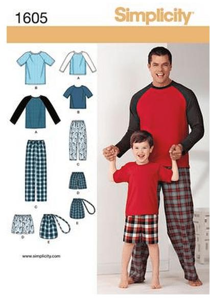 Simplicity 1605 Boys' & Men's Loungewear