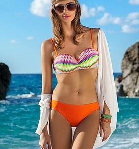 Neonfärgat bikini-set med sick-sackmönstrad topp