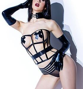 Sexig lamé-korsett i cage-modell