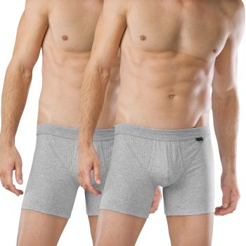 Schiesser Kalsonger 2P Authentic Shorts With Fly Grå bomull Small Herr