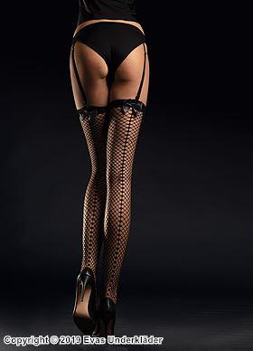 Nät-stockings med satinrosetter