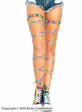 Strumpeband med benomslag i lamé, regnbågsfärg