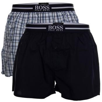 BOSS Woven Boxer Shorts With Fly Kalsonger 2P Mörkblå bomull XX-Large Herr