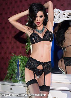 Elegant underklädesset med sexiga slitsar, 3 delar