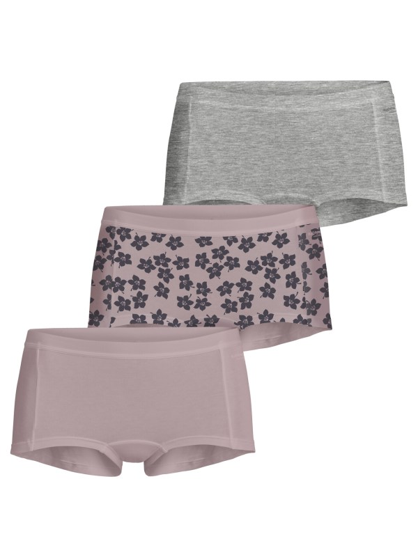 GRAPHIC FLORAL COTTON MINISHORTS 3-PACK Burnished Lilac,42