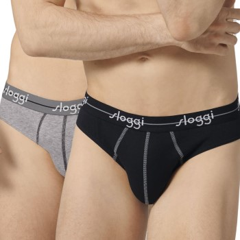 Sloggi Kalsonger 2P For Men Start Mini Svart/Grå bomull Small Herr