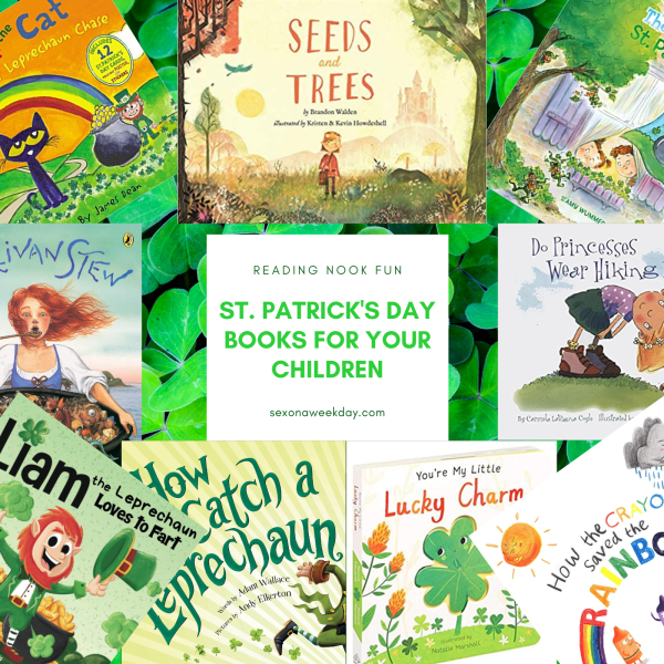 Fun St. Patrick's Day Styled Bookshelf for Your Children