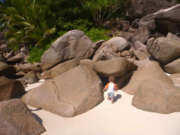 Playing on rocks, exploring anse georgette seychelles