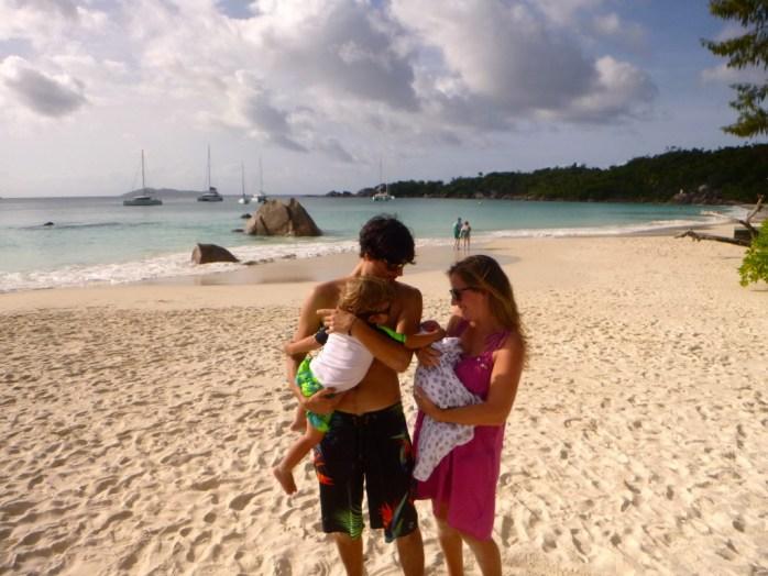 Freddie's first trip to the beach 1 week old Anse Lazio family photo