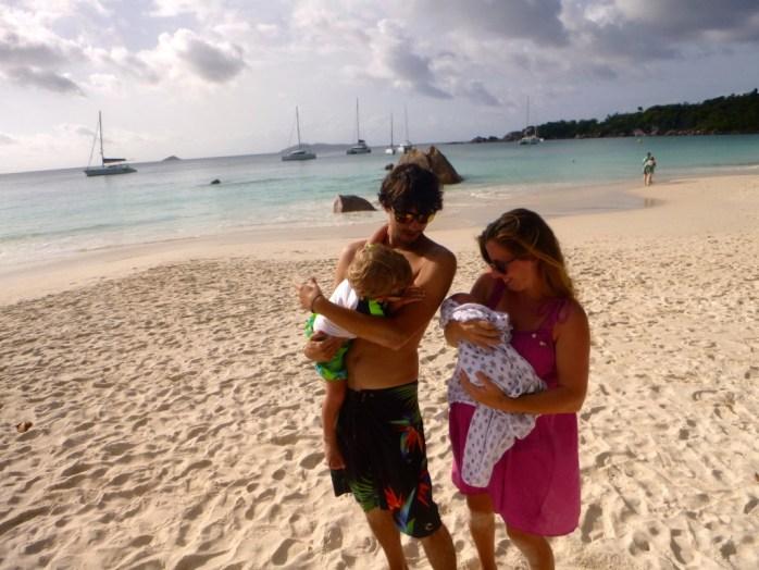 Freddie Ocean first trip to the beach 1 week old Anse Lazio