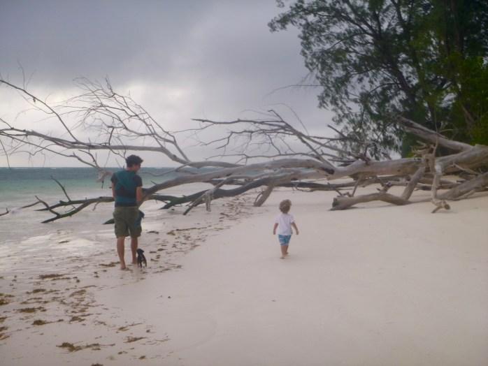 Family walk Praslin Seychelles