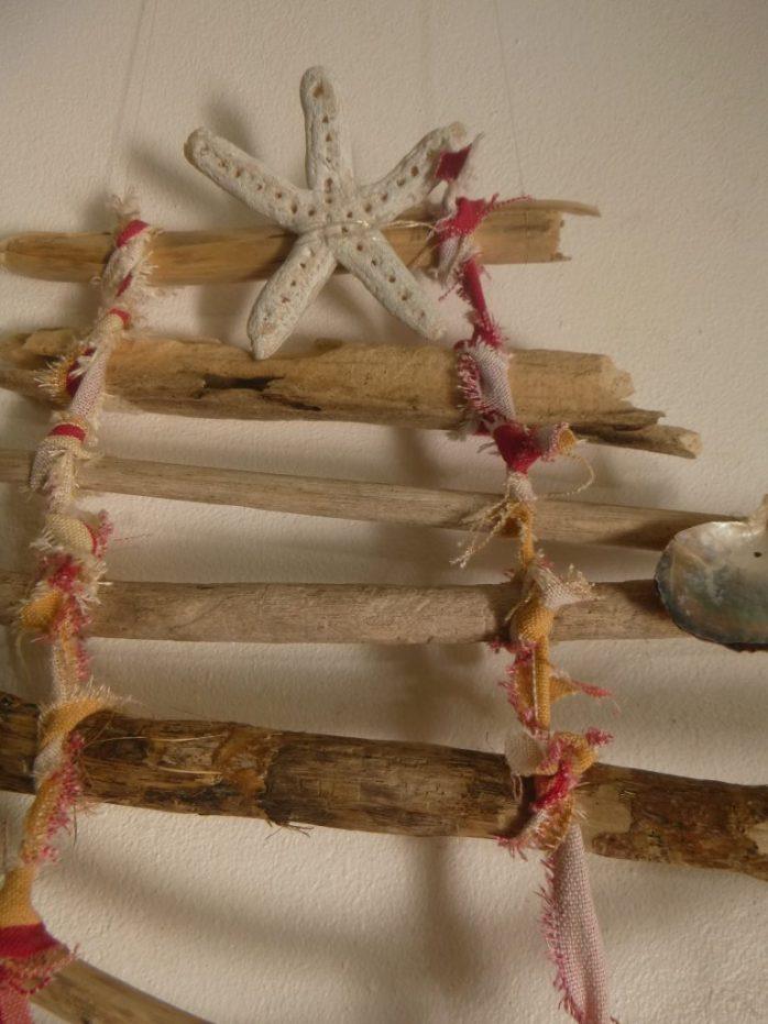 Driftwood Christmas tree. Salt dough starfish