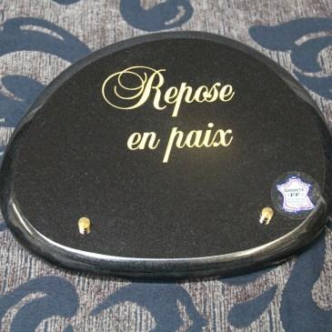 Plaque funéraire 6497 galet biseauté