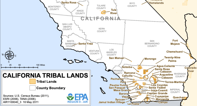 The EPA's map of federally recognized tribal land. Note, this does not include all tribes.