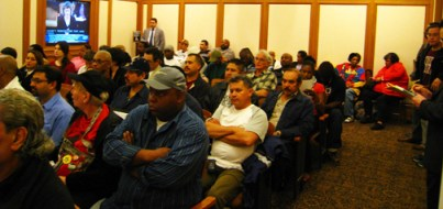 Black and Latino carpenters who packed the Board of Supervisors hearing Feb. 28 want the board to freeze AIMCO's funds while its labor abuses are investigated. - Photo: Francisco Da Costa