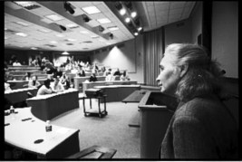 Alison Des Forges, senior adviser to Human Rights Watch, presents a lecture on genocide in Rwanda at Harvard University's Kennedy School of Government. – Photo: Keith Harmon Snow, 2007