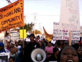 Oaklanders marched and rallied Wednesday in memory of Lovelle Mixon in the East Oakland neighborhood where he and four Oakland police sergeants were killed Saturday.