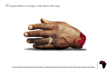 """The price of blood diamonds: """"For every hand taken in marriage, another hand is taken away,"""" this flier reads, adding, """"To secure that their enslaved workers wouldn't steal them, conflict diamond Guerillas would often cut off one of their hands. Beauty isn't worth death."""""""
