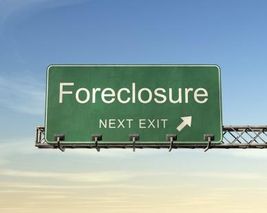 Foreclosure next exit sign