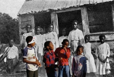 """This photo, with today's segregated students superimposed on those of yesteryear, illustrates a 2005 Salon.com story about Jonathan Kozol's book on resegregation, """"The Shame of the Nation,"""" which got little coverage elsewhere. In the earlier segregation era, students were at least taught by Black teachers known for cherishing and nurturing them, while Black children today are like to have non-Black teachers who fear and resent them."""