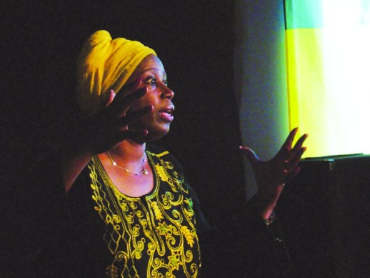 At the Black Dot on Aug. 21, the second stop on her Triumph Tour of the Bay Area, Cynthia McKinney told of her adventures in Palestine, enthralling the audience. – Photo courtesy of the POCC