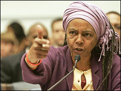 "Mama D (Dyan French) ""gave the government an earful,"" reported AP, on Dec. 6, 2005, three months after New Orleans' Black community was drowned in water and racism, at a hearing arranged by then-Congresswoman Cynthia McKinney, who told AP, ""The world saw the effects of American-style racism in the drama as it was outplayed by the Katrina survivors."" Four years later, it's time the administration and Congress listen to Mama D when she demanded in her testimony, ""You will not treat human beings like this."" – Photo: AP"
