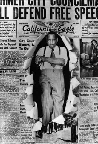 """Black Los Angeles-based photographer Howard Lee Morehead created this composite photograph of Paul Robeson bursting through the front page of the California Eagle newspaper in 1947. It was featured in a 1983-1984 exhibit at the California African American Museum in Los Angeles. The venerable California Eagle, led by Charlotta Bass from 1912 to 1951, fought against racism and police brutality and, together with other Black papers, fought for the Scottsboro Boys and the """"Don't Buy Where You Can't Work"""" campaign."""