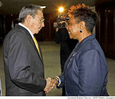 "When Congresswoman Barbara Lee led a congressional delegation to Cuba in April of this year, she met with Fidel Castro at his home and with President Raul Castro, pictured here, for a five hour, wide ranging discussion, during which ""they did not leave anything off the table,"" she said. Lee accepted an invitation from the Cubans to train U.S. youth, African Americans in particular, as doctors – free of charge! – Photo: Juvenal Balan Neyra, AFP-Getty Images"