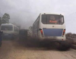 The biggest contributor to toxic air is particulate matter and chemicals belched out by diesel engines, such as these tour buses. Children are the most vulnerable.