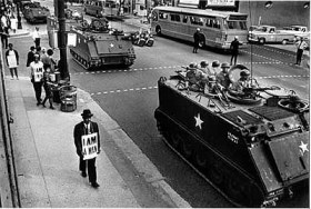 Days before his assassination, Dr. King came to Memphis at the request of striking sanitation workers to risk jail and organize a mass demonstration in defiance of a court injunction and National Guardsmen in armored personnel carriers equipped with 50-caliber machine guns. The workers ultimately won their union contract.