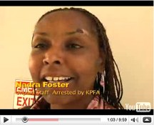 Nadra Foster in a video recorded at her court hearing Aug. 25, the injury caused by the police grinding her face into the floor not yet healed. Watch the video at www.blockreportradio.com and read many stories about this incident of police terrorism inside KPFA here at sfbayview.com. – Video: Labor Video Project