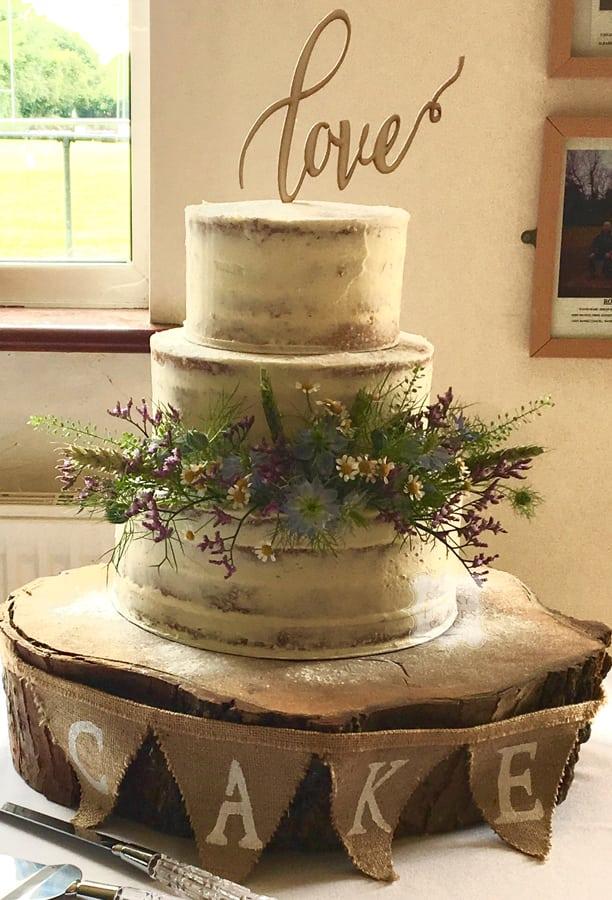 3 Tier Semi Naked Wedding Cake Rochford Essex Rochford