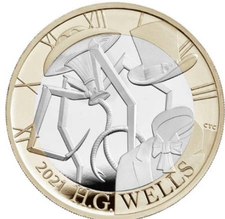 Royal Mint launch illiterate HG Wells coin with four-legged Martian tripod (news).