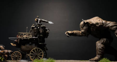 Steampunk stage coach versus the bison monster (model-making tutorial).
