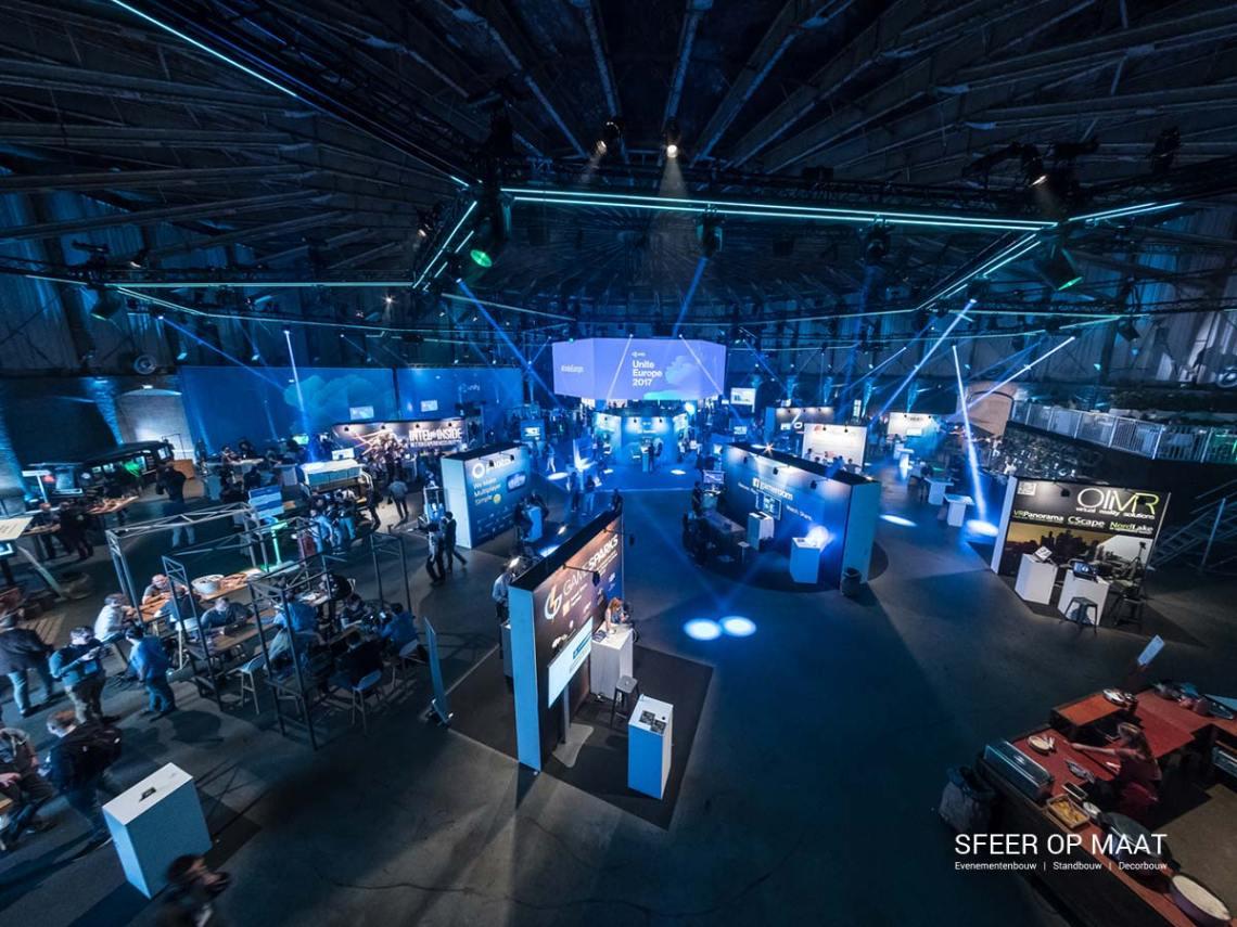 Unity Unite Europe in de Westergasfabriek overzicht. Standbouw door Sfeer op Maat