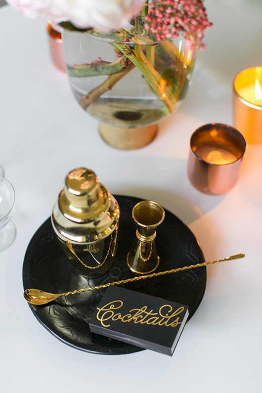 metallic cocktail tools and candles / sfgirlbybay