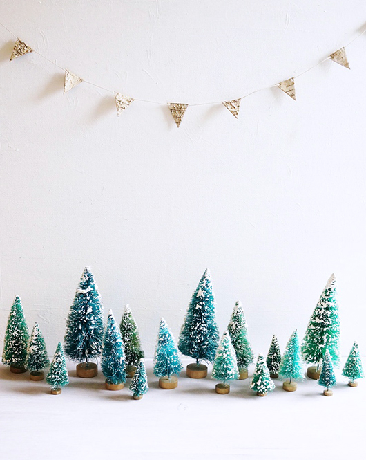 snow topped green bottle brush mini christmas trees / sfgirlbybay