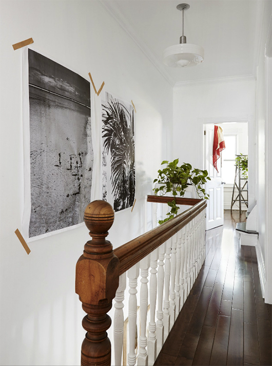 black and white art prints in toronto stairwell with indoor plants / sfgirlbybay