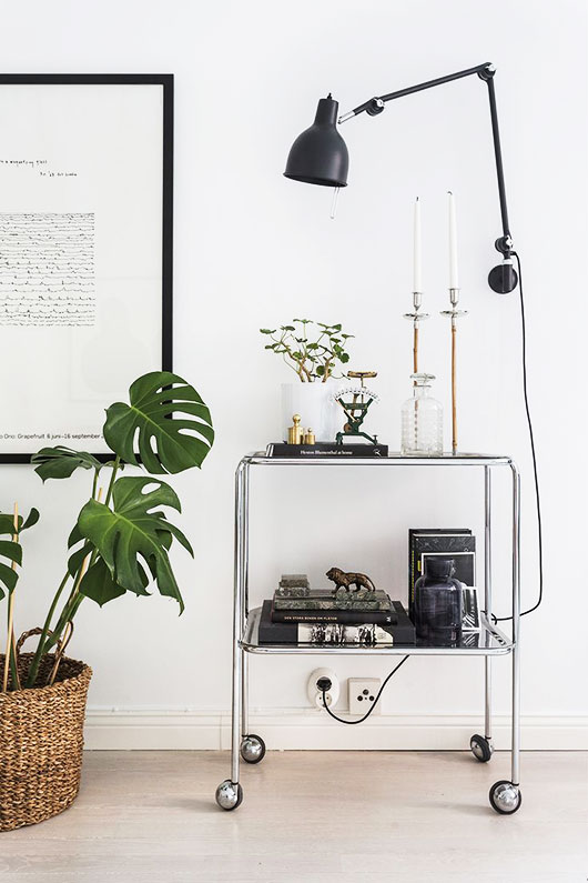 metal bar cart and black wall light fixture styled by fantastic frank / sfgirlbybay