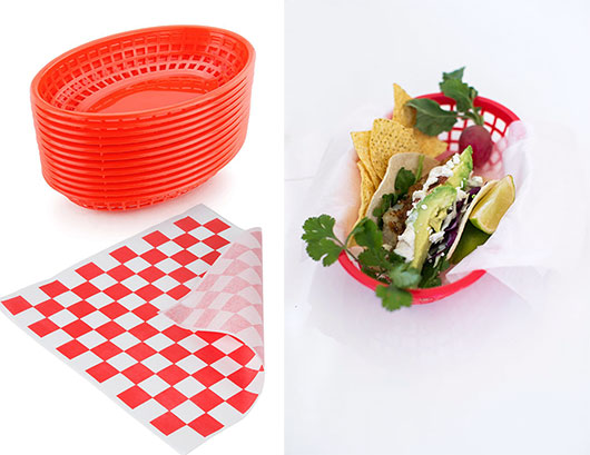 red taco baskets with red and white checkered liner paper / sfgirlbybay