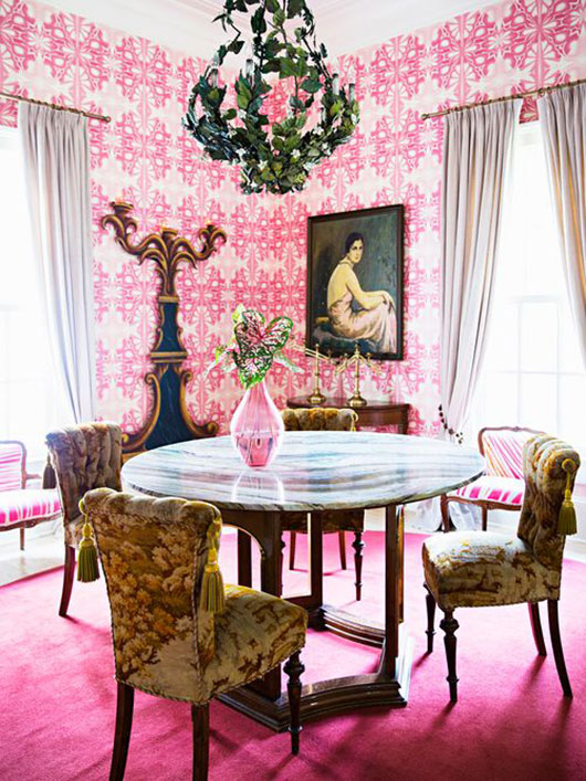 dining room with pink wallpaper and carpet by brittany ambridge / sfgirlbybay