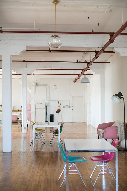 modern light fixtures with tables and chairs inside our LA loft / sfgirlbybay