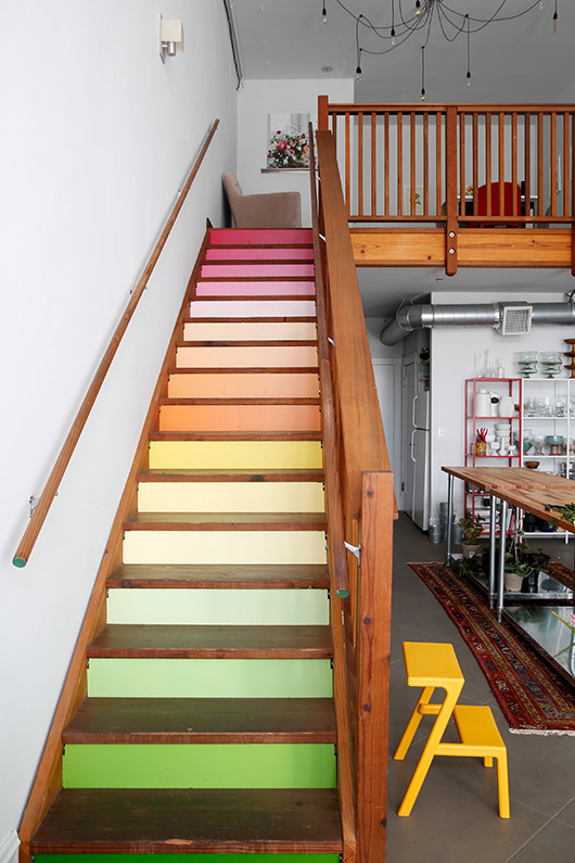 rainbow stairwell inside tulipina workshop. / sfgirlbybay