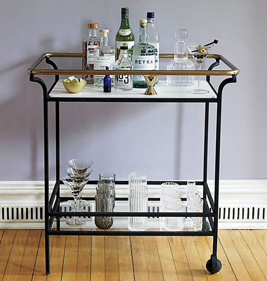 cavalier bar cart in marble and black and brass / sfgirlbybay